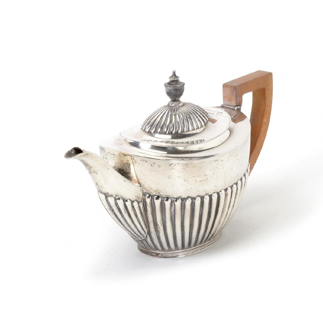 English Sterling Teapot, with Birks Nut Dishes, - 3