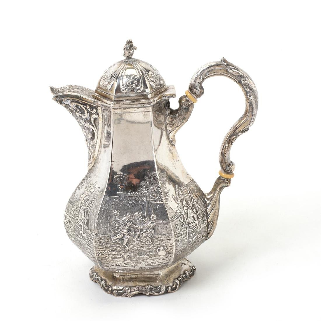 Dutch Silver Octagonal Chocolate Pot Together with a - 2