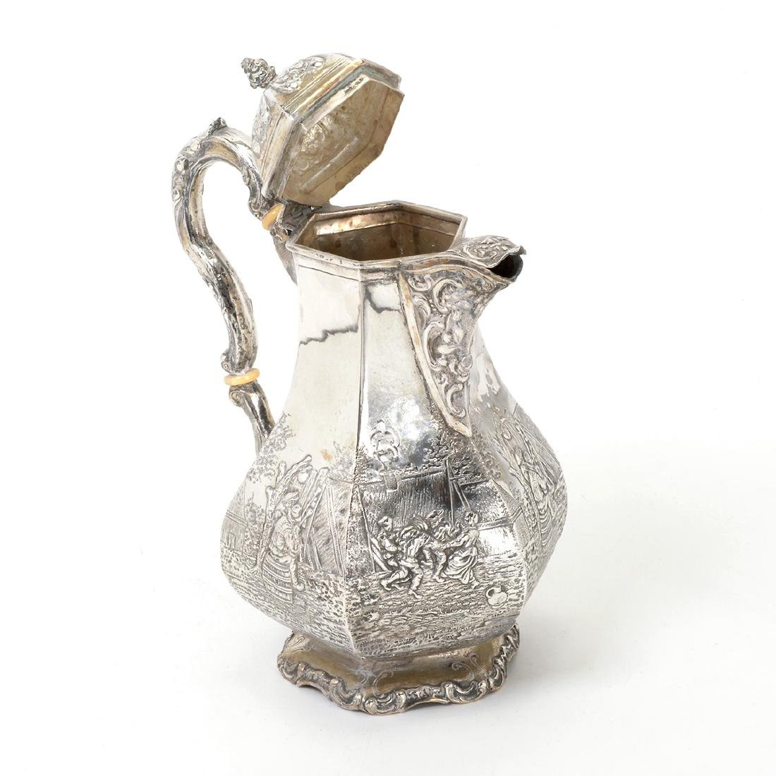 Dutch Silver Octagonal Chocolate Pot Together with a - 3