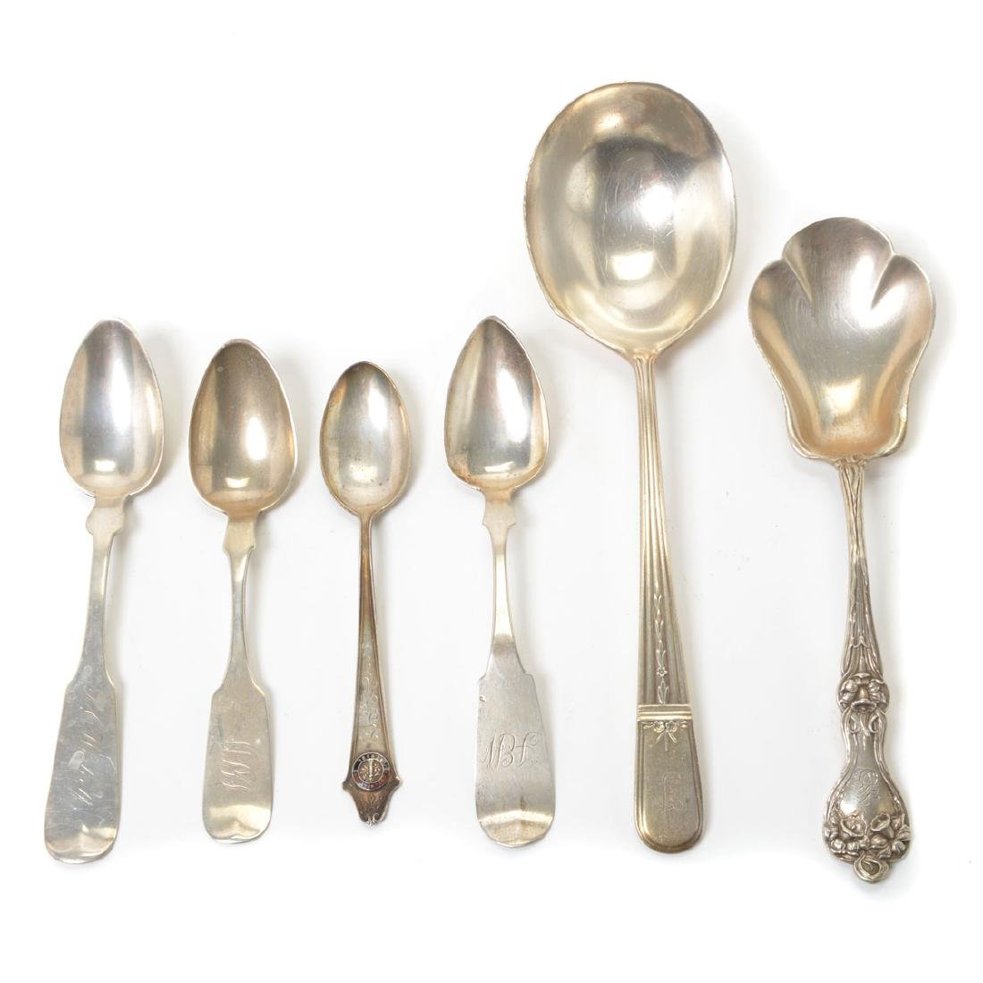 Assorted Coin Silver Flatware with Souvenir Spoons