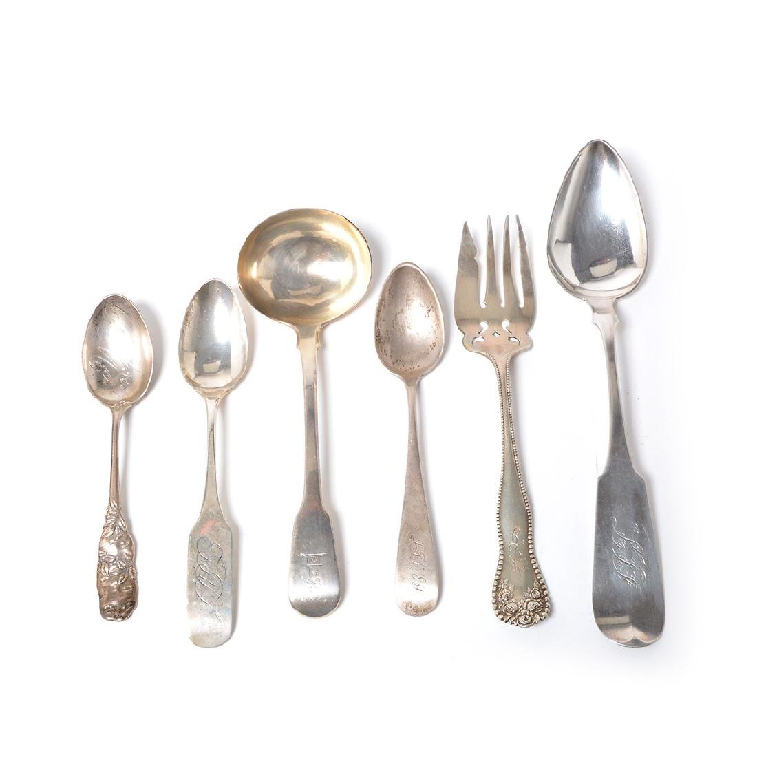 Assorted Coin Silver Flatware with Souvenir Spoons - 2