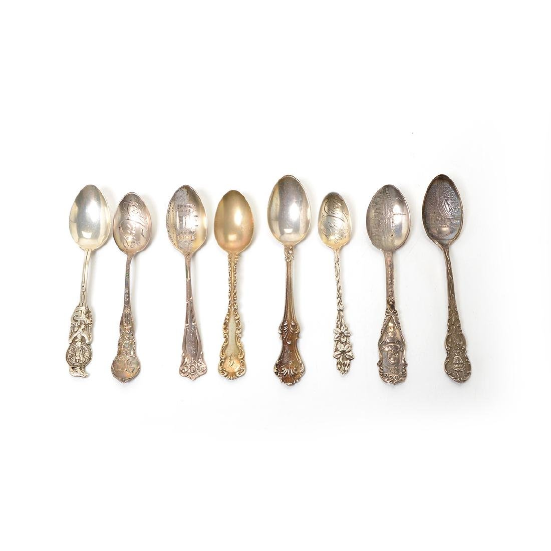 Assorted Coin Silver Flatware with Souvenir Spoons - 5