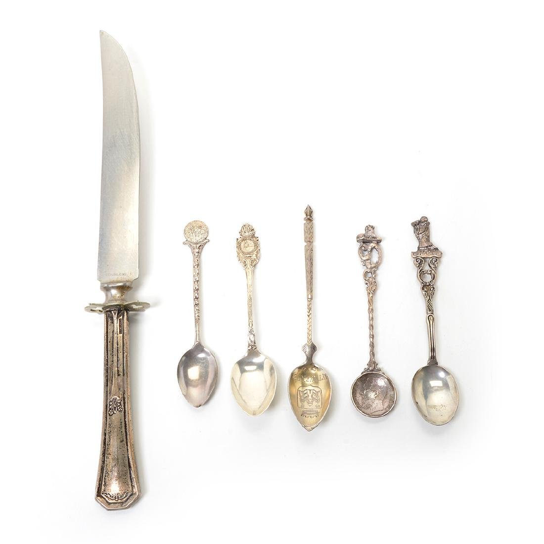 Assorted Coin Silver Flatware with Souvenir Spoons - 6