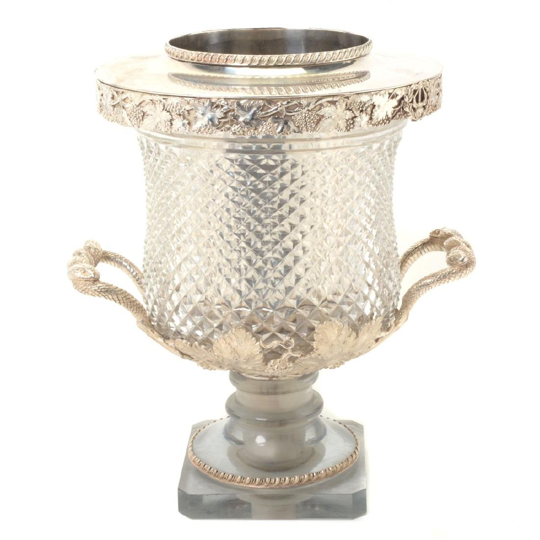 European Silverplate & Cut Glass Champagne Cooler with