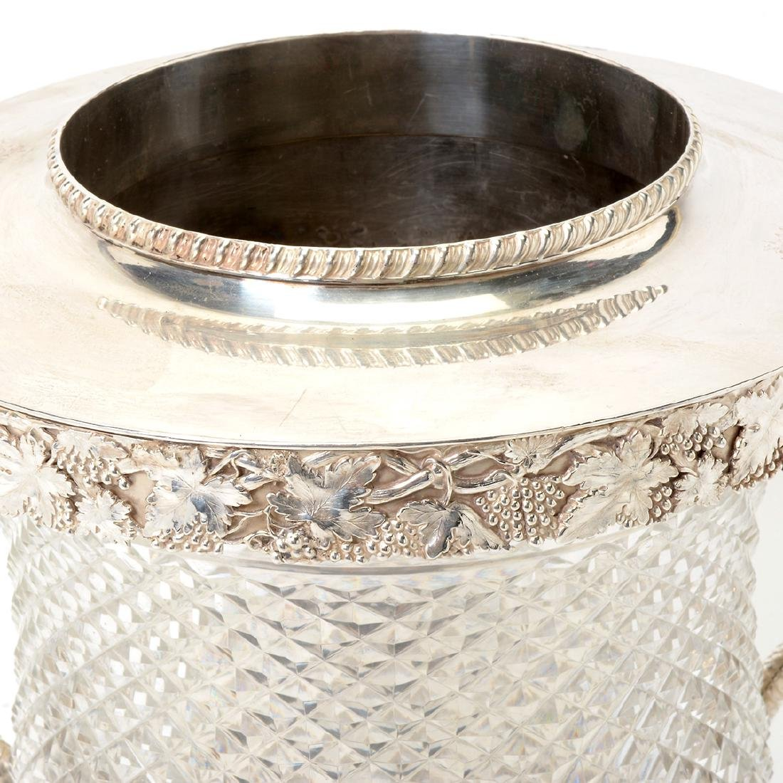 European Silverplate & Cut Glass Champagne Cooler with - 2