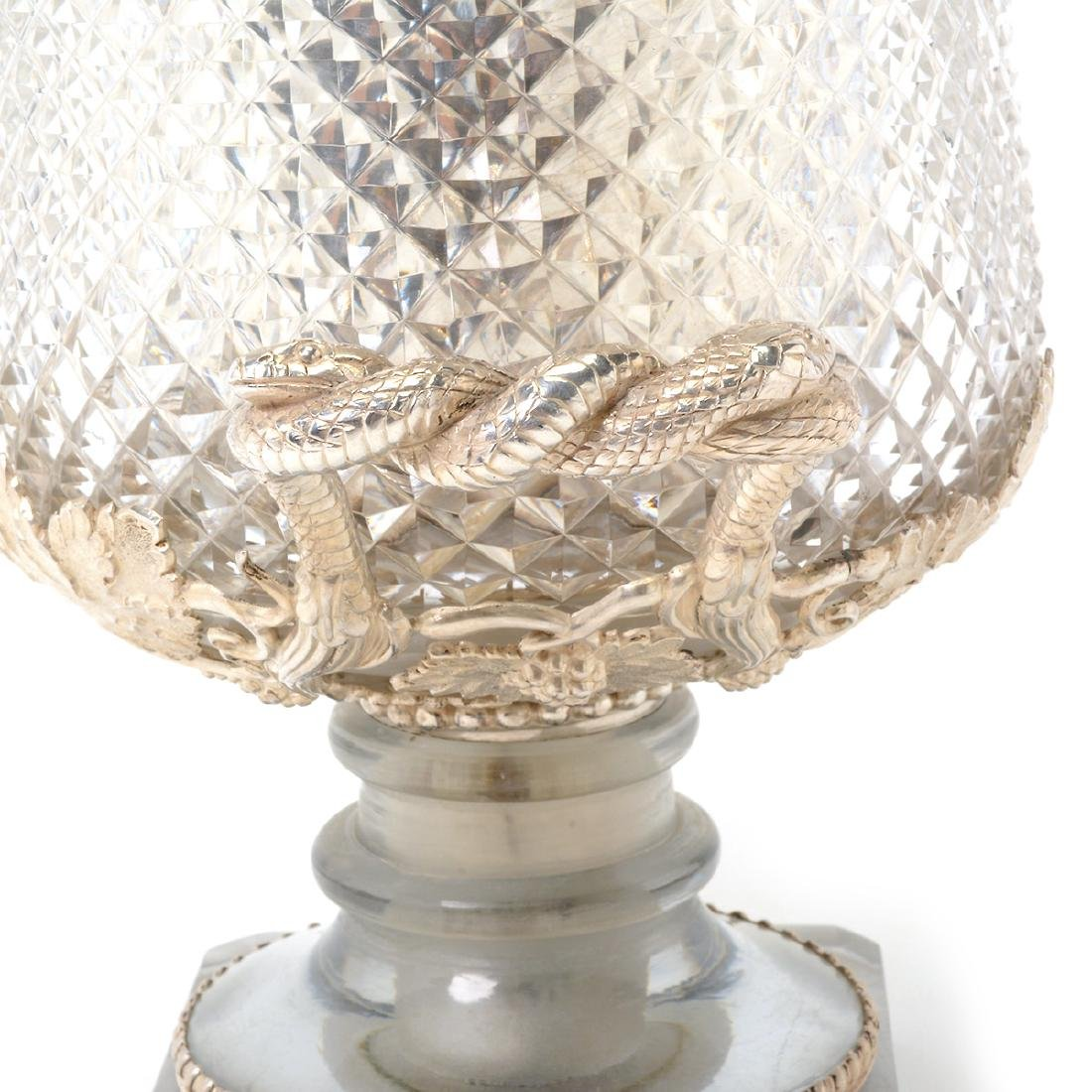 European Silverplate & Cut Glass Champagne Cooler with - 4