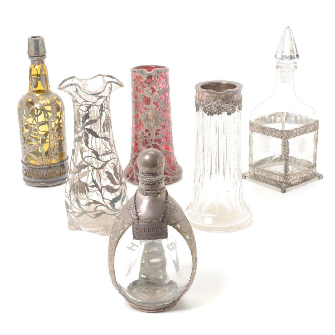 Six Silver Overlay or Mounted Glass Vessels
