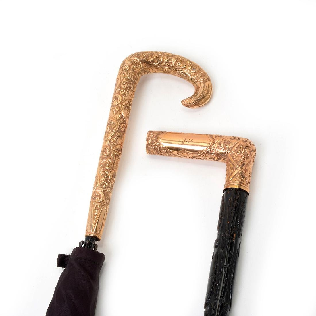 Two Gold-Filled Knob Handled Cane or Parasol - 2
