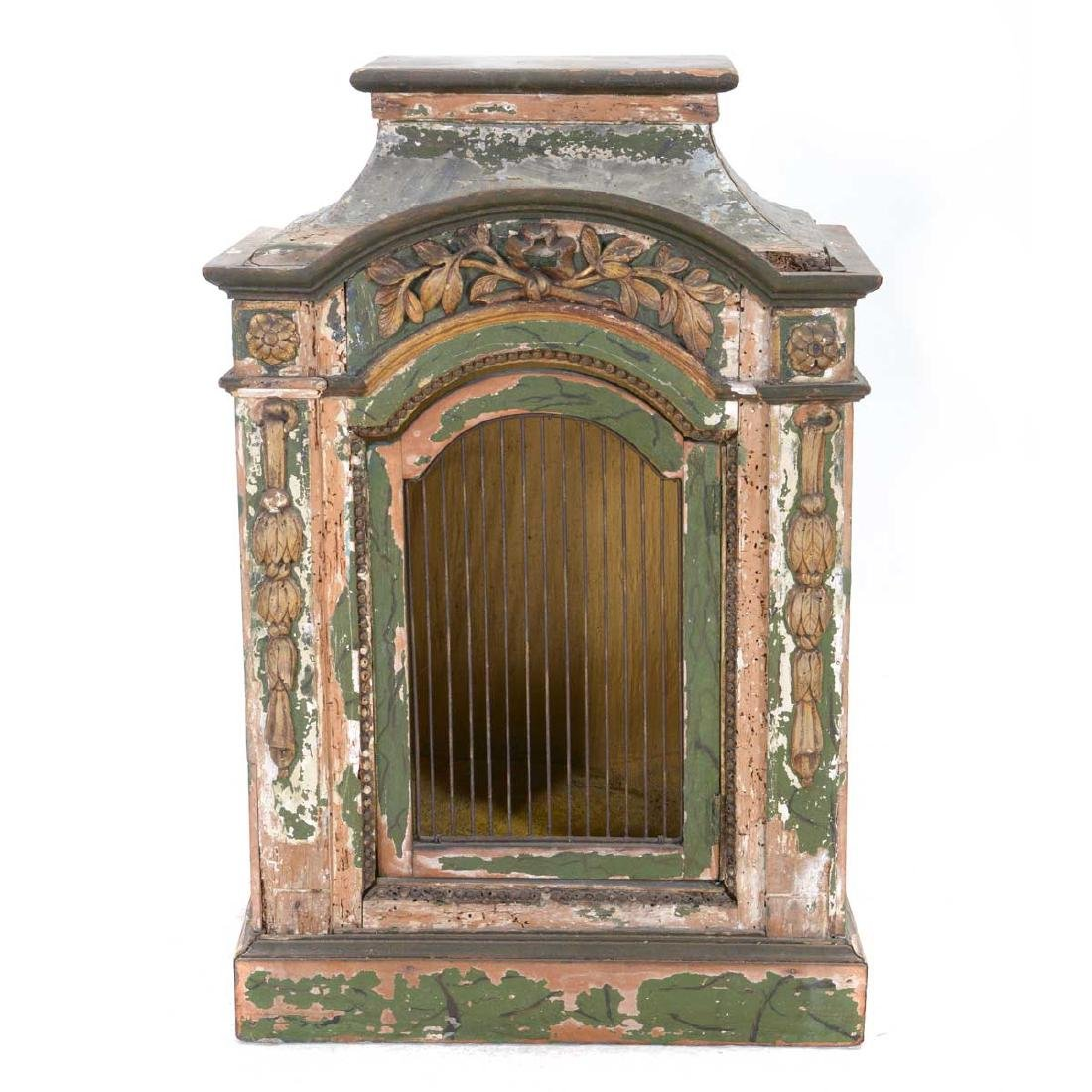 Italian Rococo Green Painted and Gilt Table Cabinet,