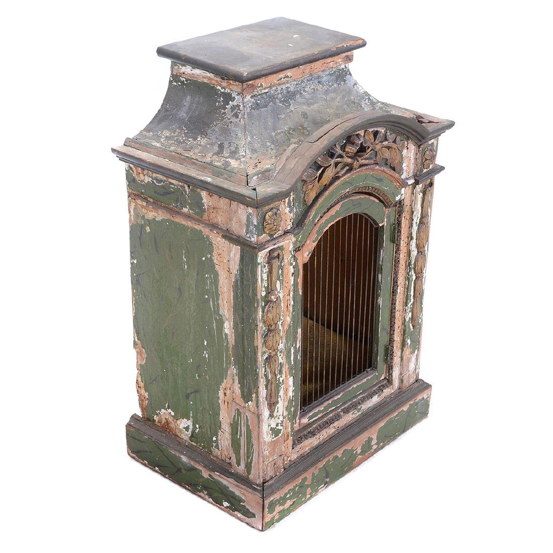 Italian Rococo Green Painted and Gilt Table Cabinet, - 2