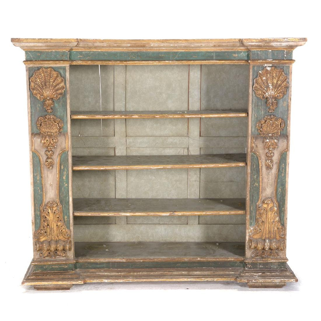 Italian Baroque Polychrome and Giltwood Side Cabinet,