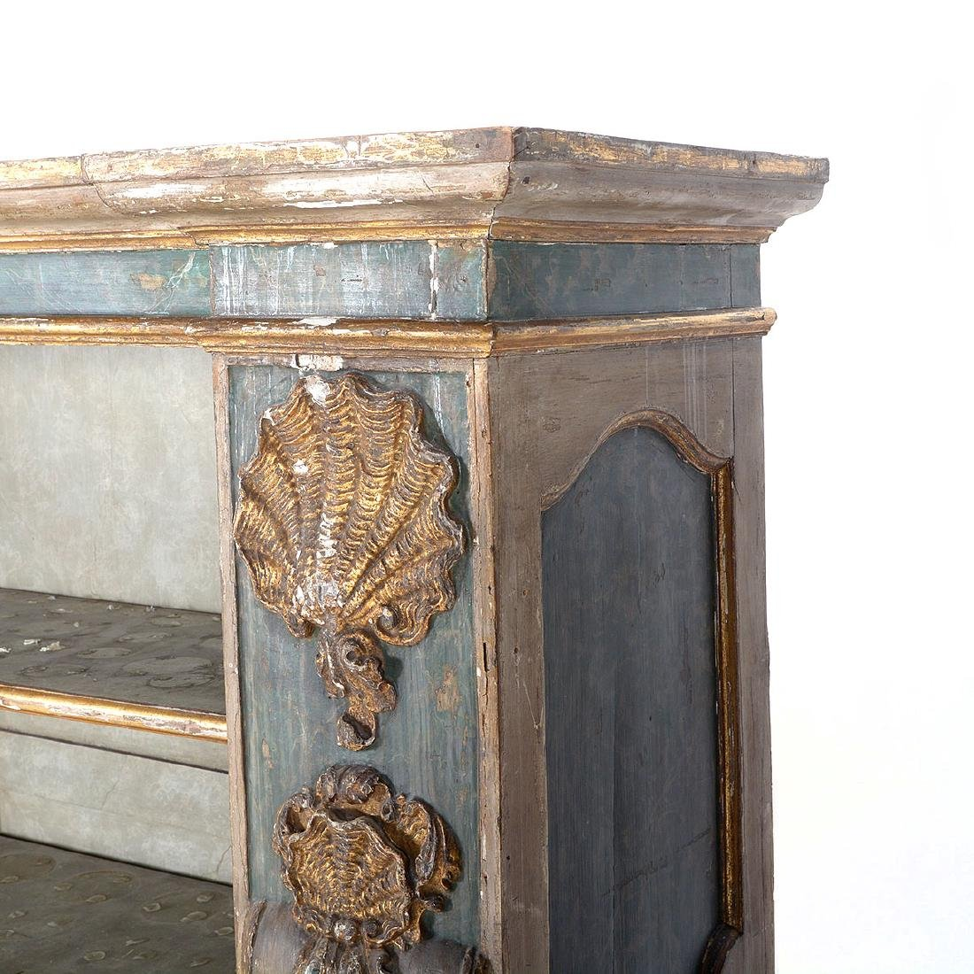 Italian Baroque Polychrome and Giltwood Side Cabinet, - 4