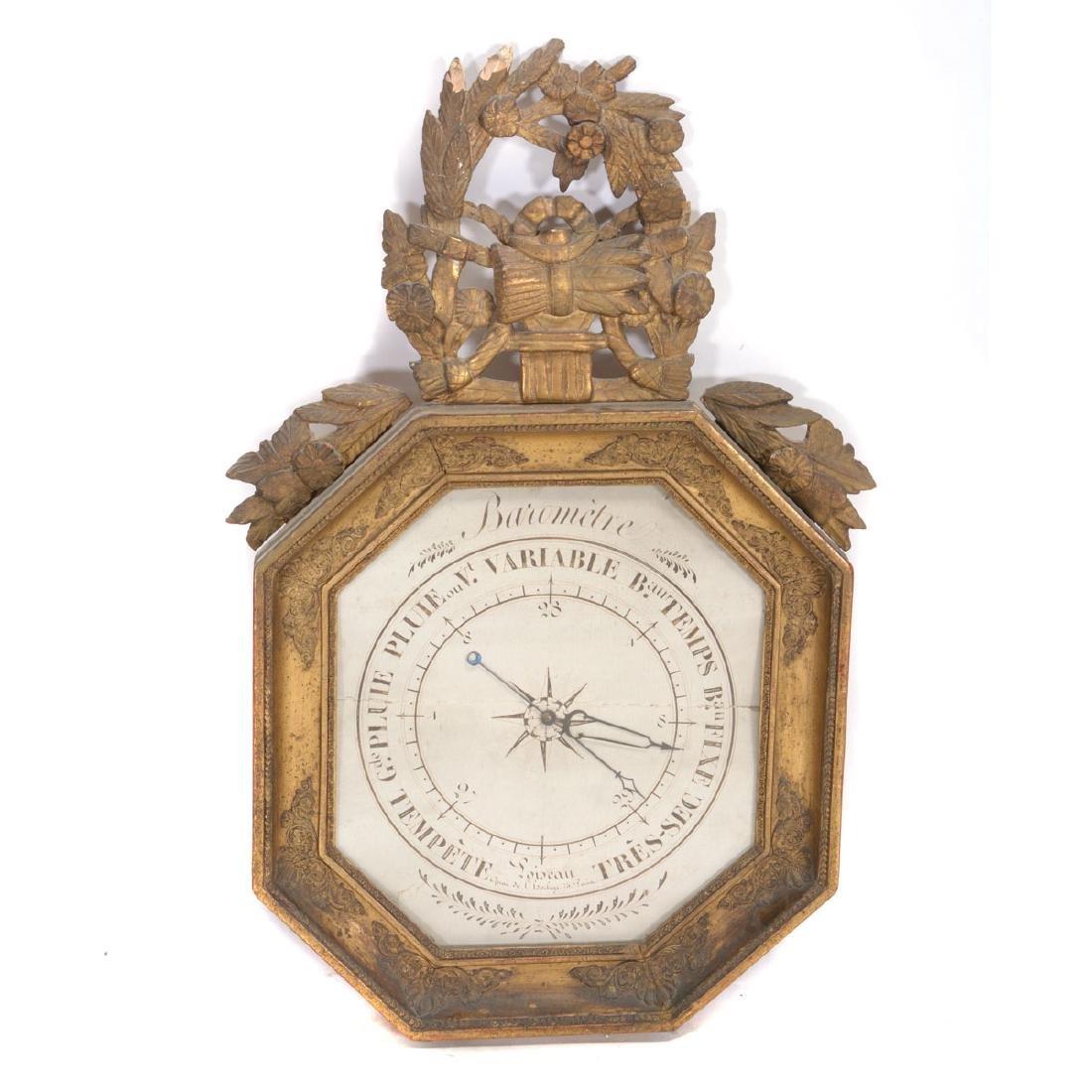 Louis XVI Giltwood Octagonal Barometer