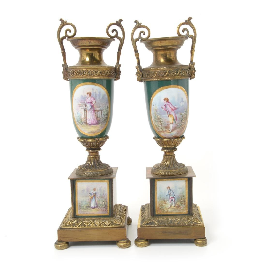 Pair of Sevres Style Gilt Bronze Urns