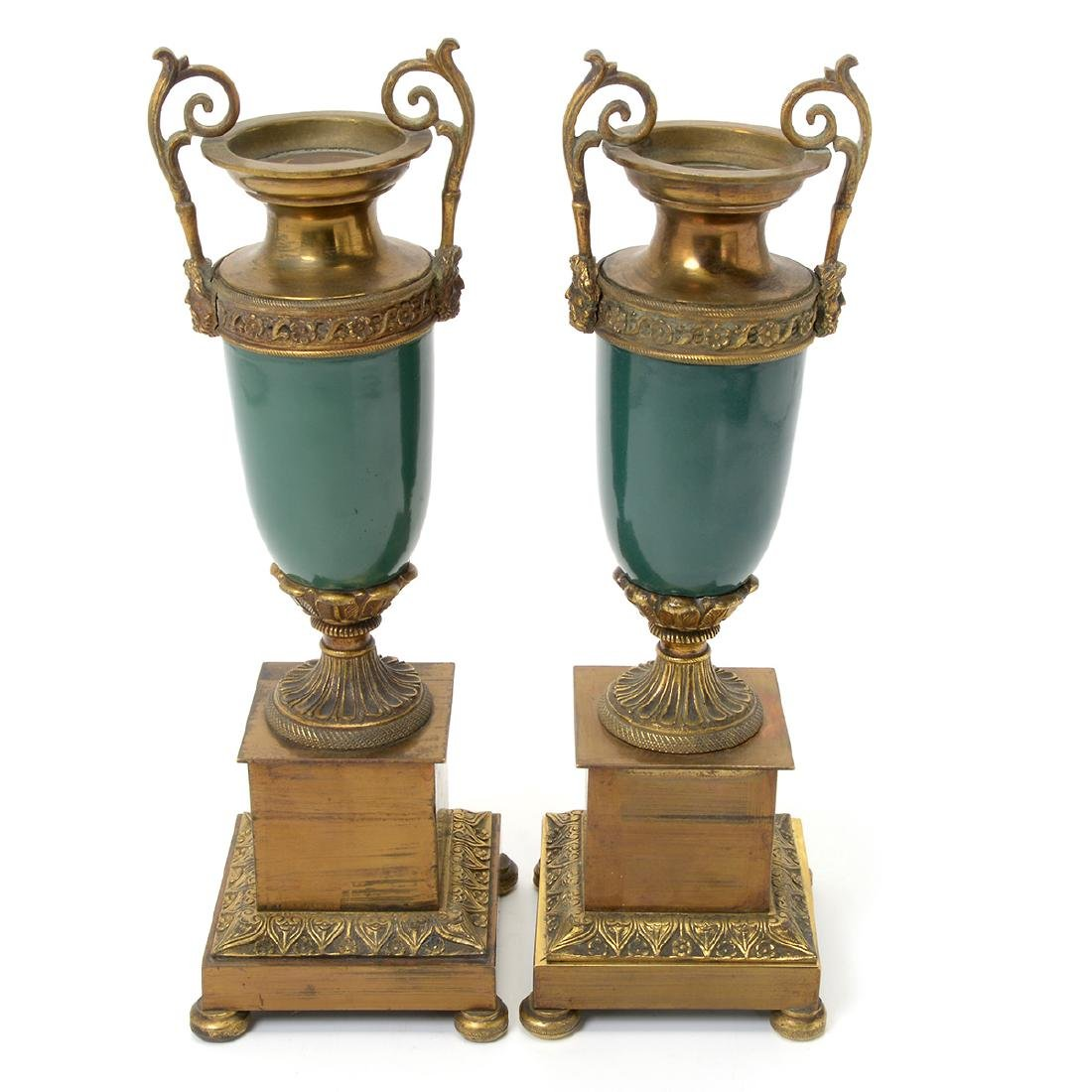Pair of Sevres Style Gilt Bronze Urns - 2