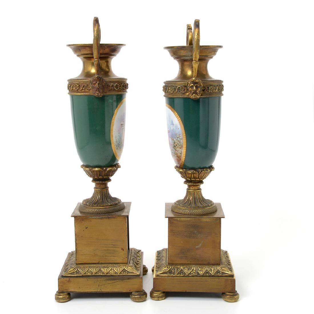 Pair of Sevres Style Gilt Bronze Urns - 3