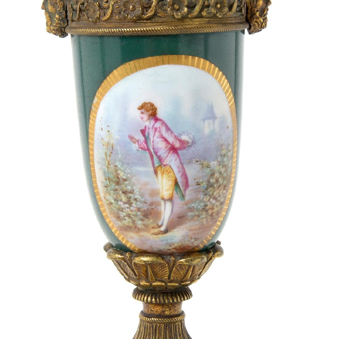 Pair of Sevres Style Gilt Bronze Urns - 6