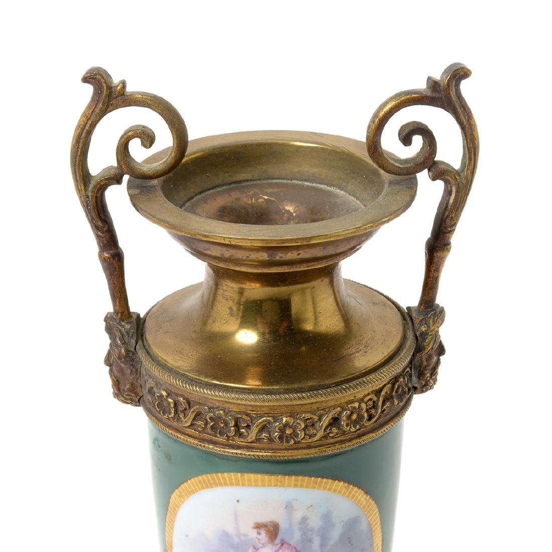 Pair of Sevres Style Gilt Bronze Urns - 8