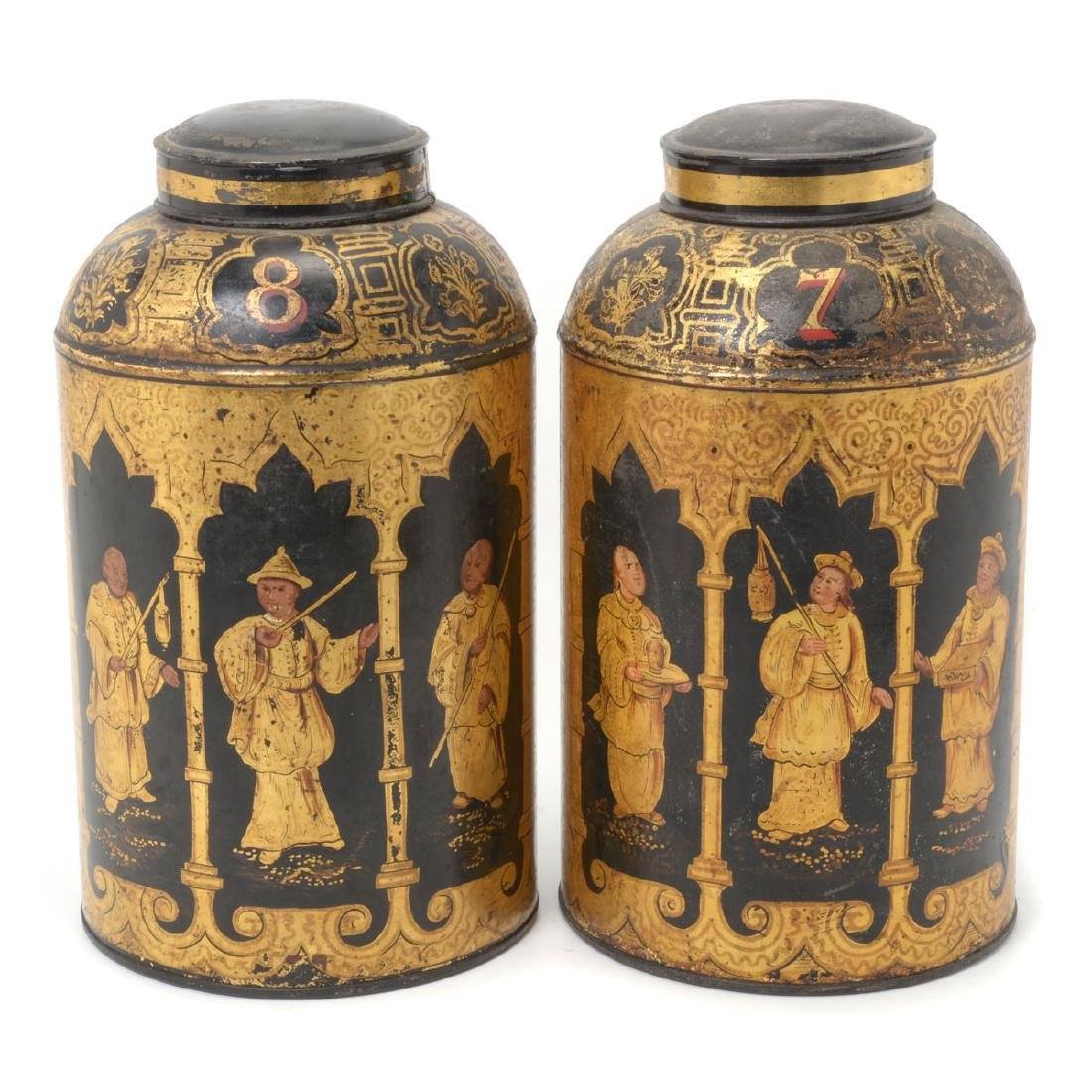 Pair of English Tole Tea Canisters Decorated with