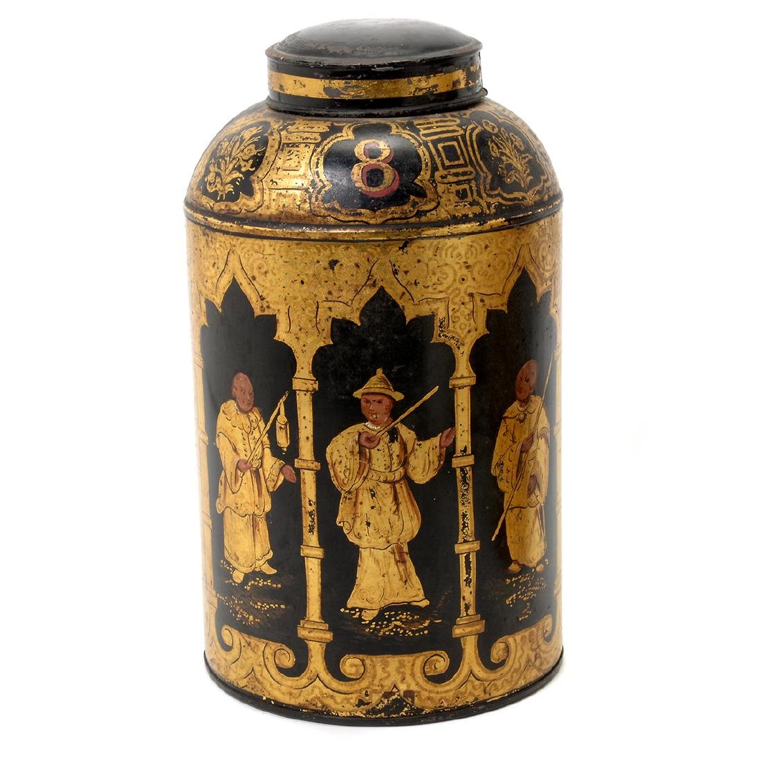 Pair of English Tole Tea Canisters Decorated with - 3