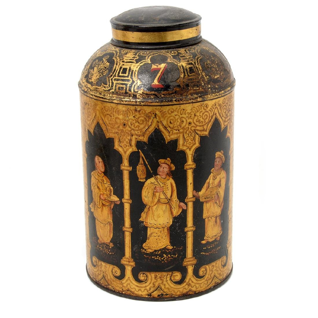 Pair of English Tole Tea Canisters Decorated with - 6