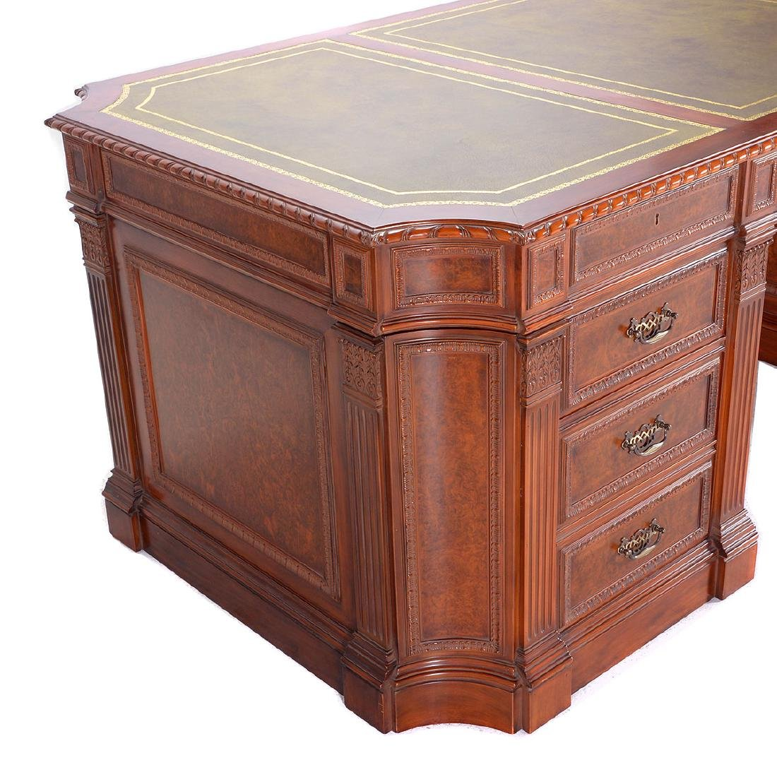Renaissance Revival Double Pedestal Desk Inset with - 3