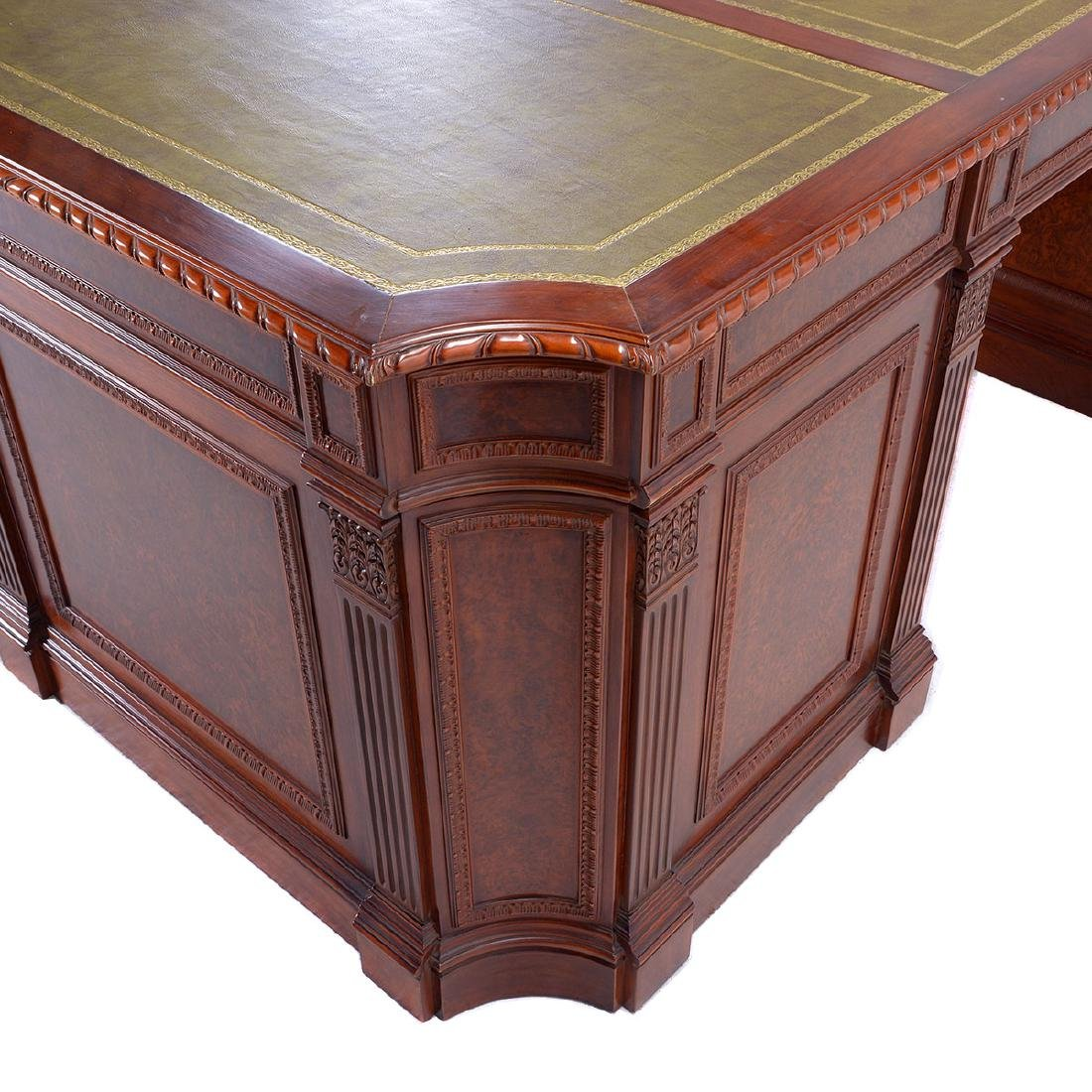 Renaissance Revival Double Pedestal Desk Inset with - 6