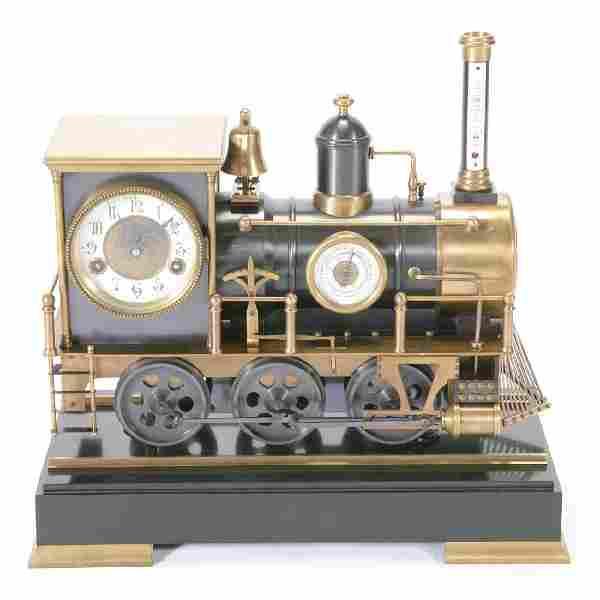 French Automaton Locomotive Industrial Clock