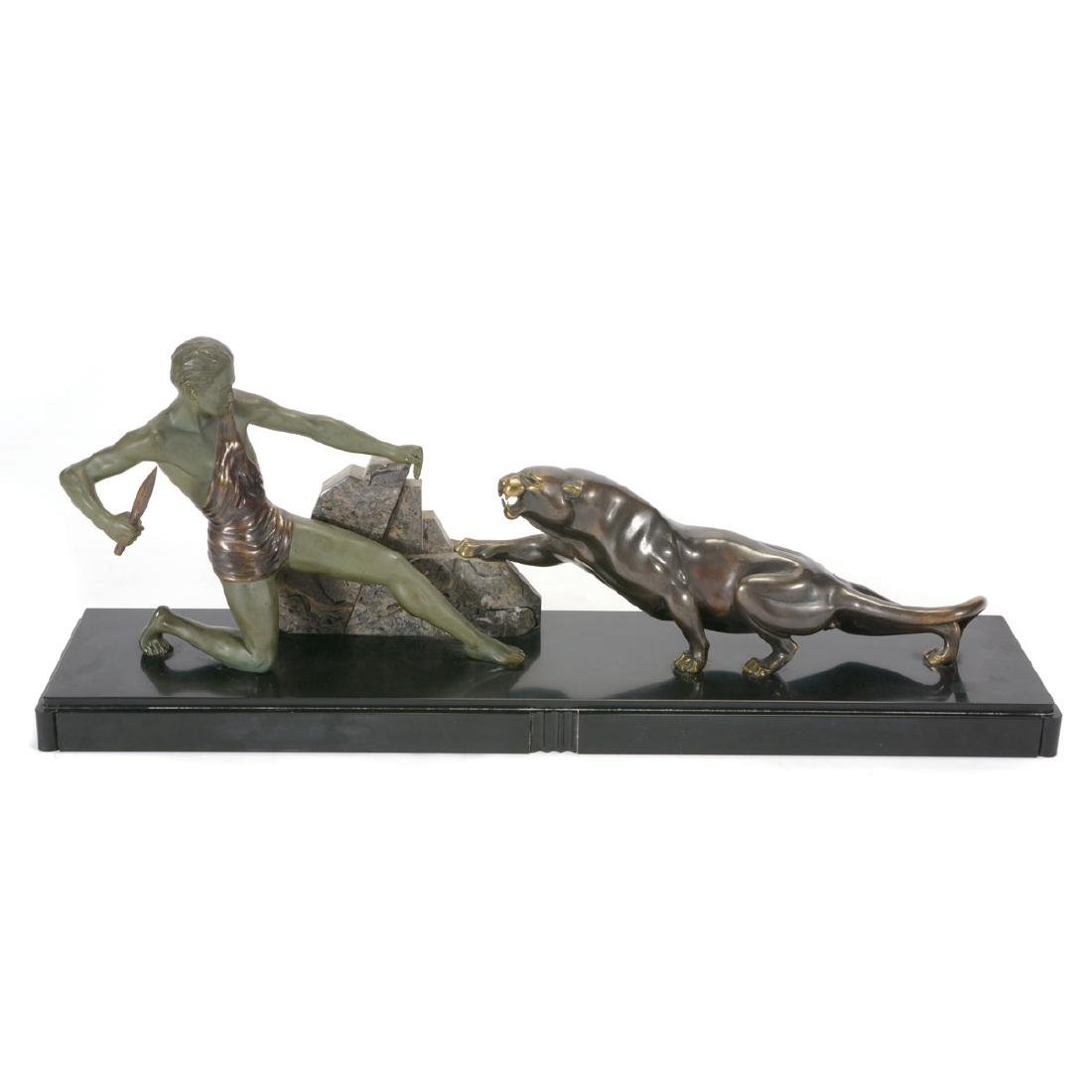 Art Deco Patinated Metal and Marble Sculpture of Man