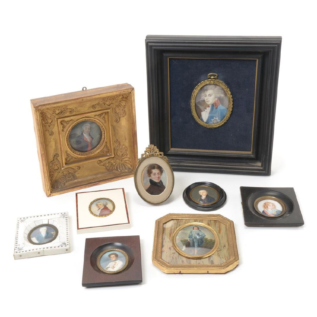 Nine Miniature Portraits of Men Including Blue Boy