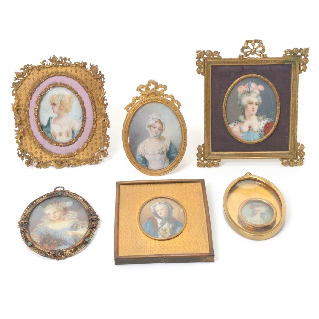 Six Brass Framed Miniature Portraits of Women