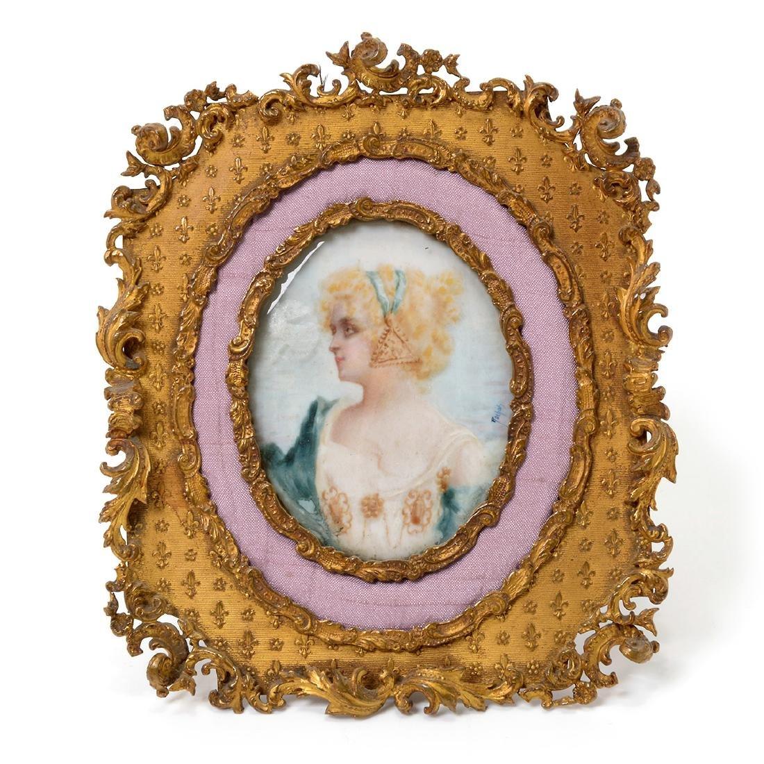 Six Brass Framed Miniature Portraits of Women - 2