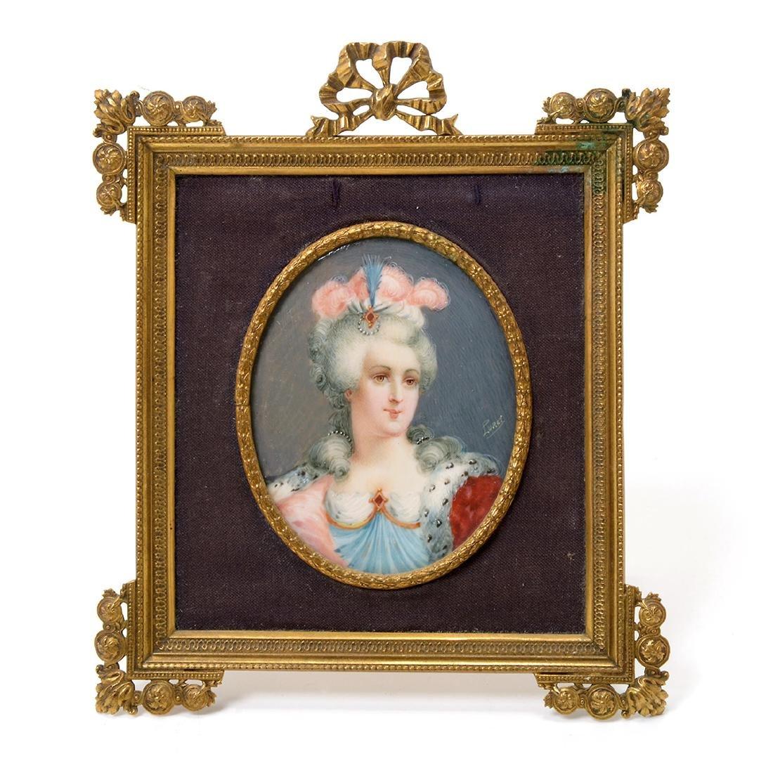 Six Brass Framed Miniature Portraits of Women - 3