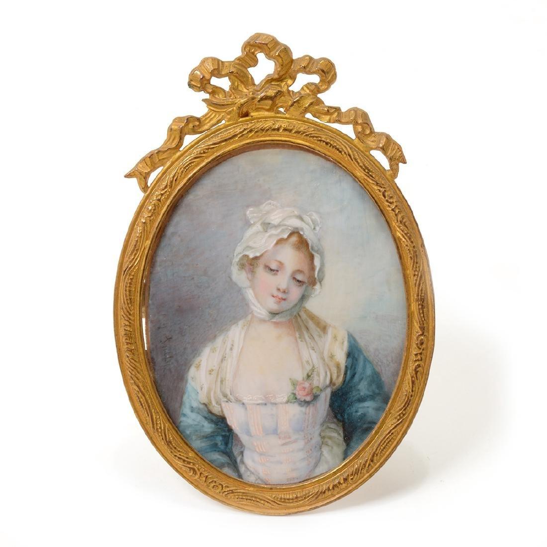 Six Brass Framed Miniature Portraits of Women - 4