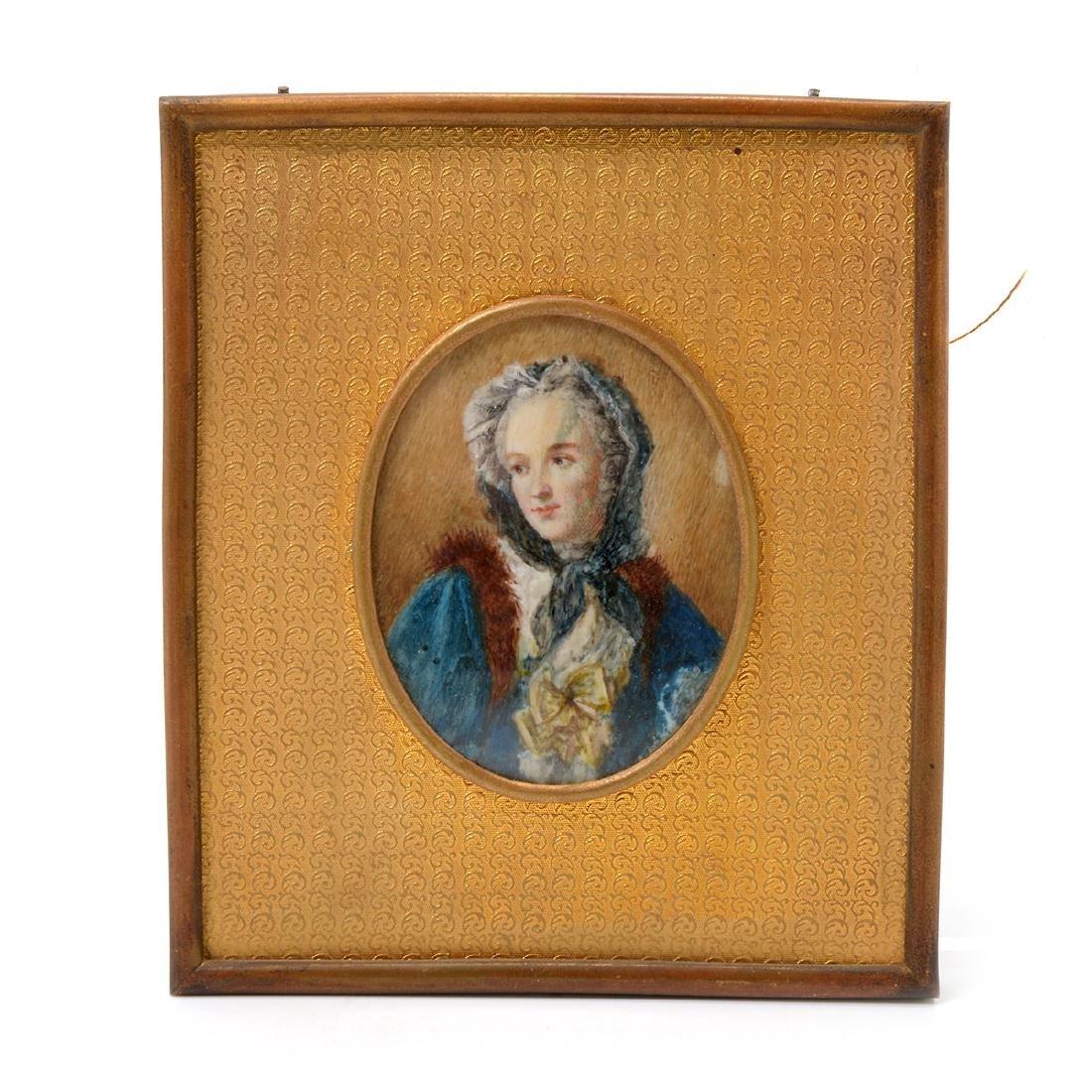 Six Brass Framed Miniature Portraits of Women - 5