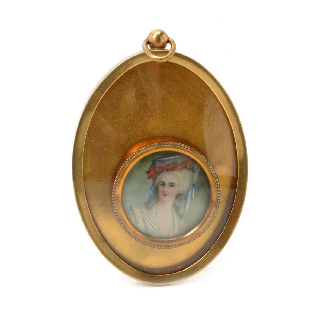Six Brass Framed Miniature Portraits of Women - 6