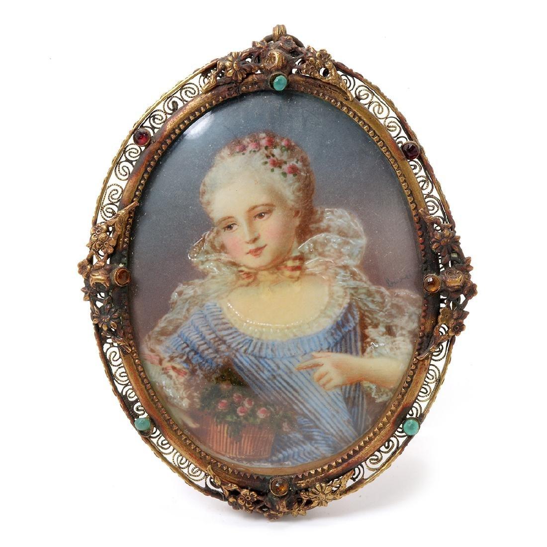 Six Brass Framed Miniature Portraits of Women - 7