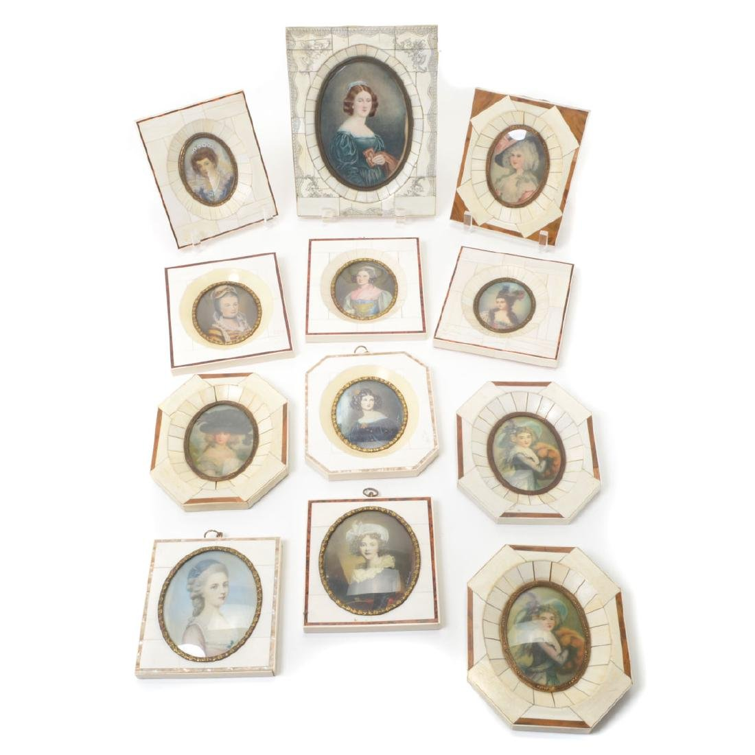 Twelve Miniature Portraits in Piano Key Frames