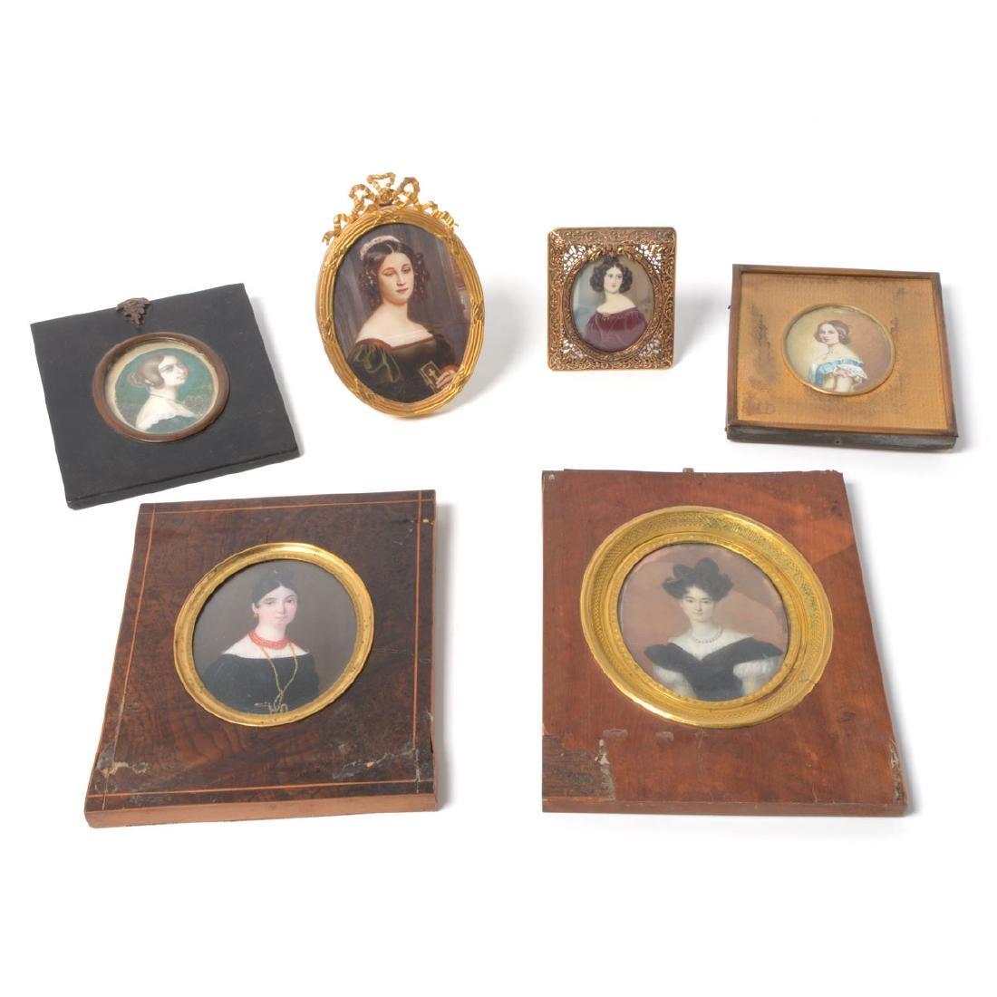 Six Miniature Portraits of Pre-Civil War Era Women