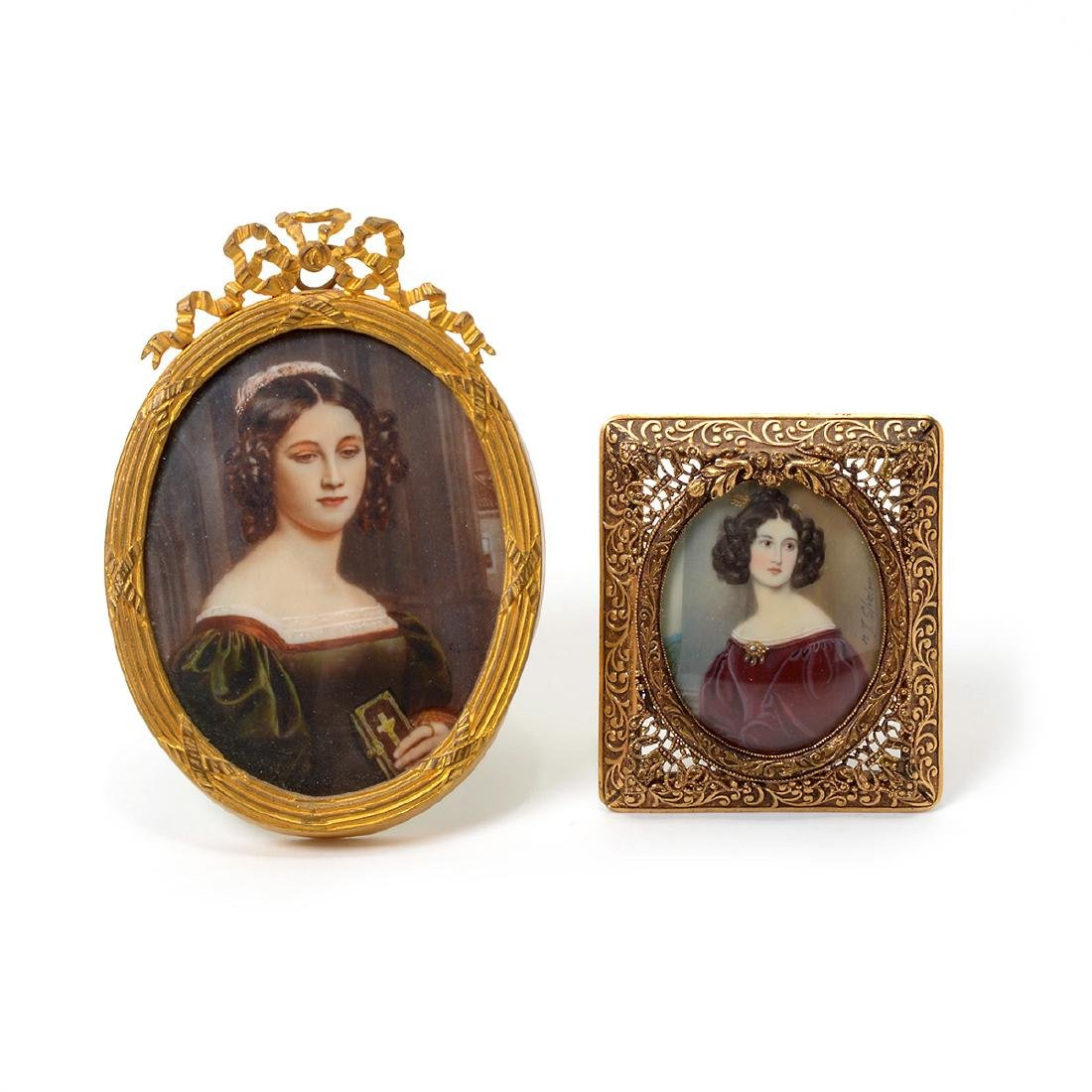 Six Miniature Portraits of Pre-Civil War Era Women - 2