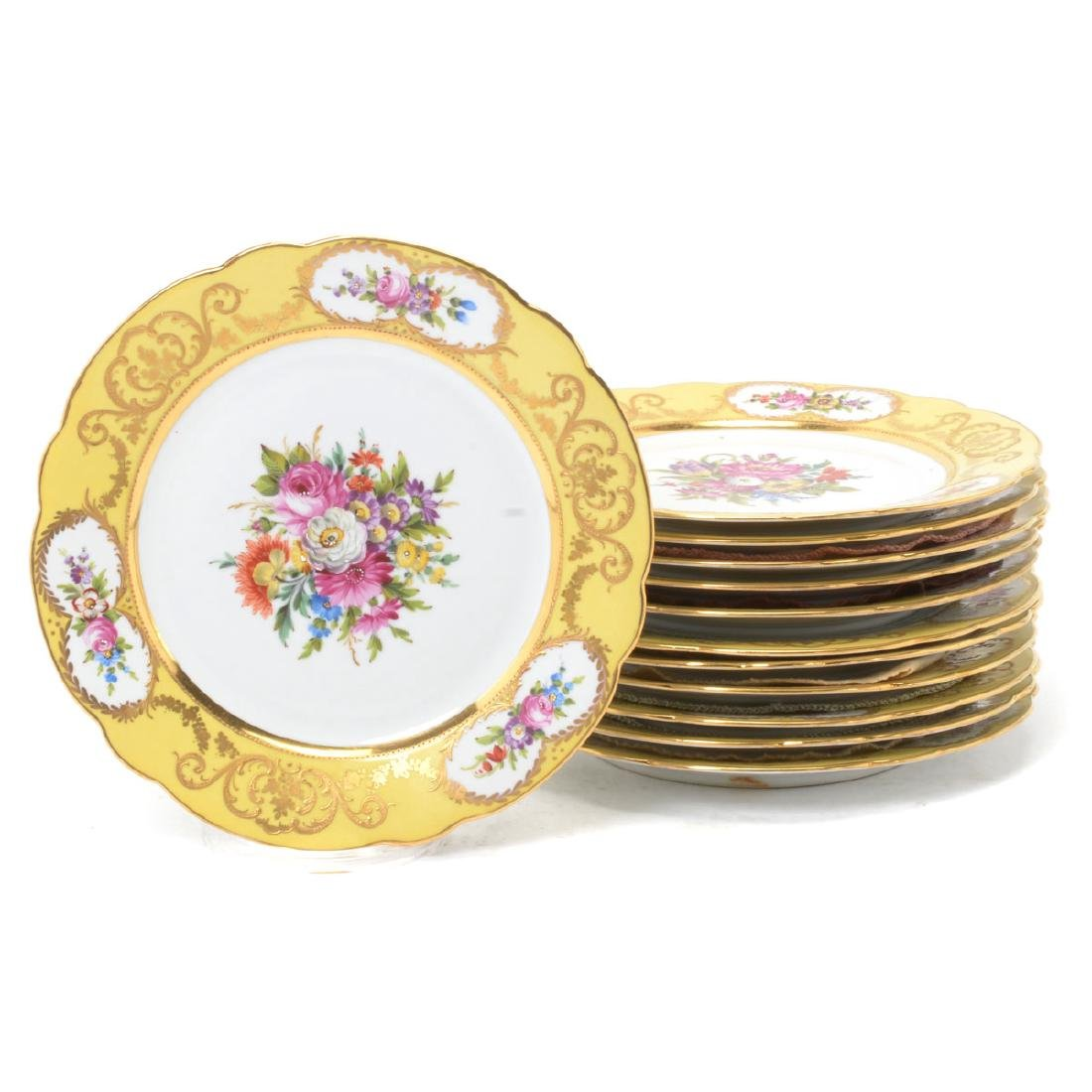 Set of Twelve Sevres Style Yellow Floral Plates