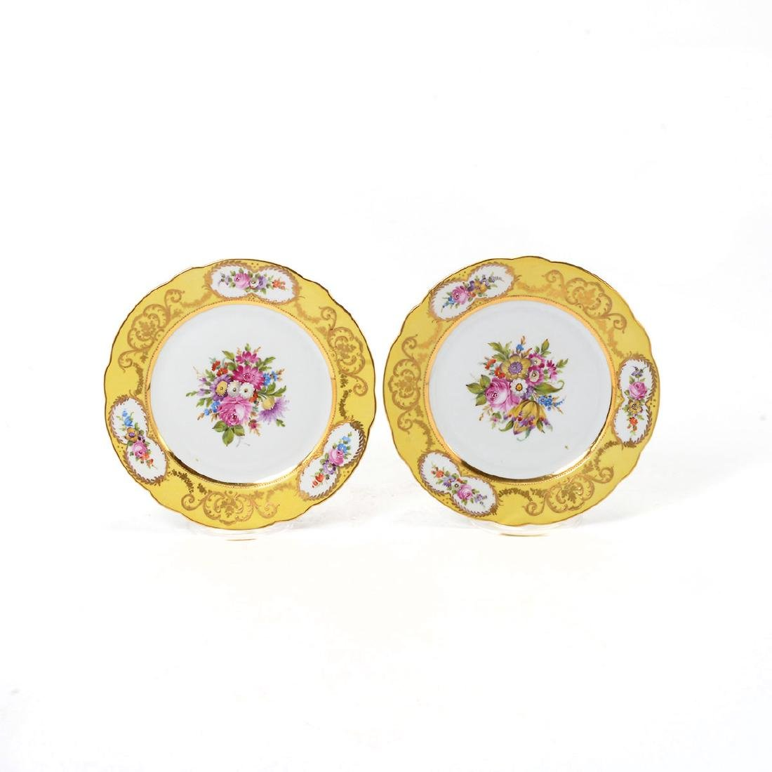 Set of Twelve Sevres Style Yellow Floral Plates - 3