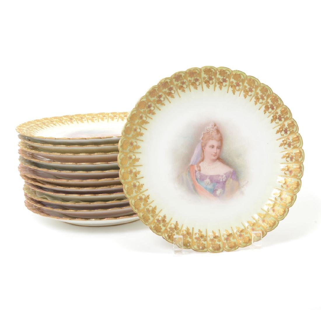 Set of Twelve Sevres Style Porcelain Cabinet Plates,
