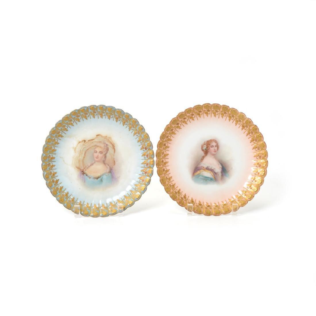 Set of Twelve Sevres Style Porcelain Cabinet Plates, - 4