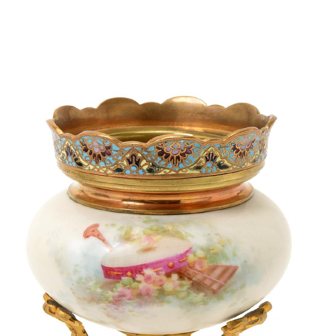 Two SÈvres Style Gilt Bronze Porcelain Vessels: - 10
