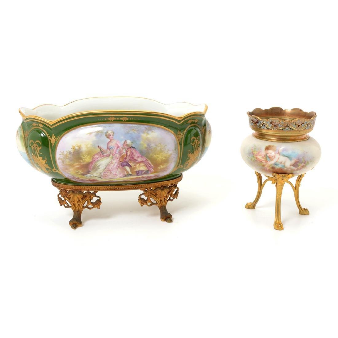 Two SÈvres Style Gilt Bronze Porcelain Vessels: