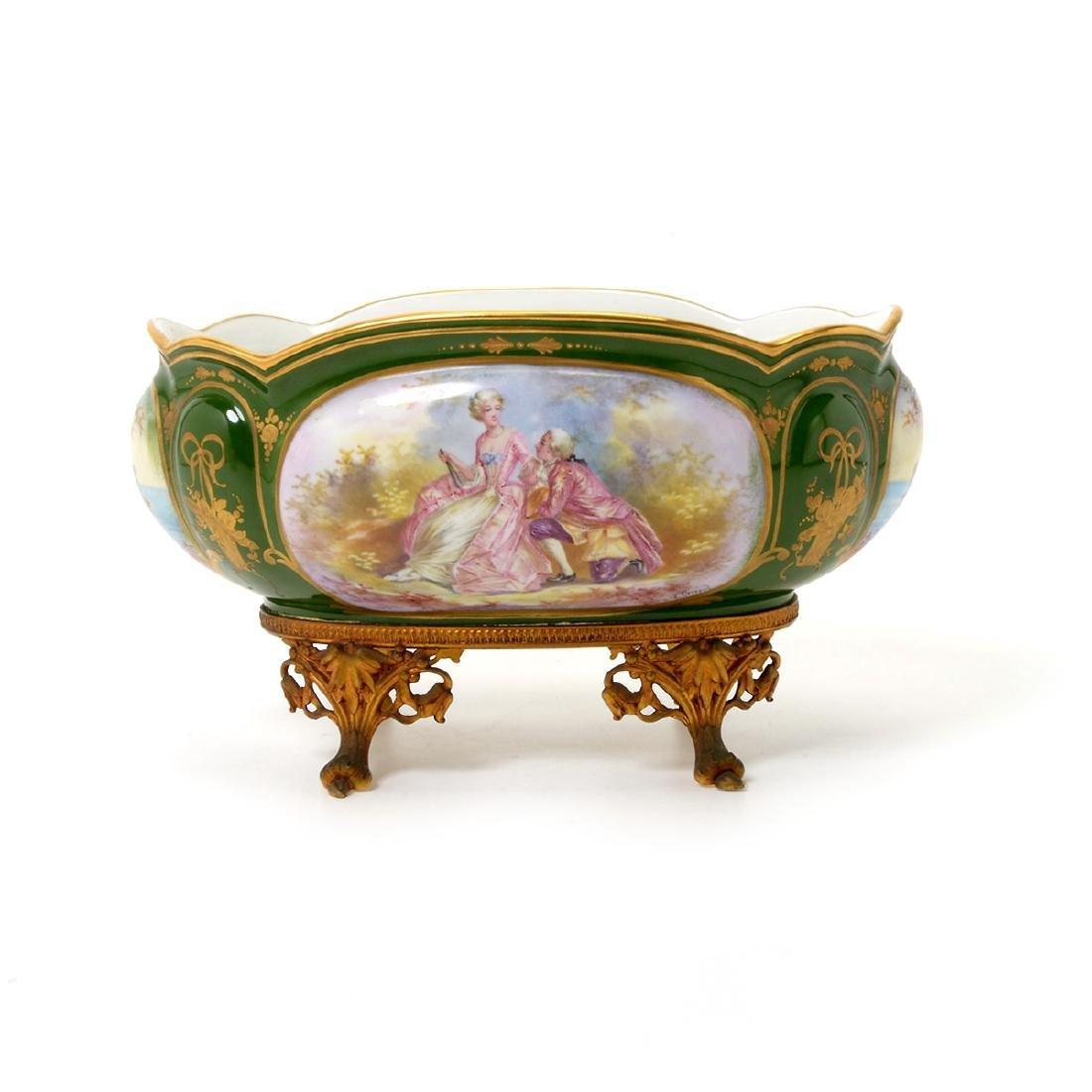 Two SÈvres Style Gilt Bronze Porcelain Vessels: - 2