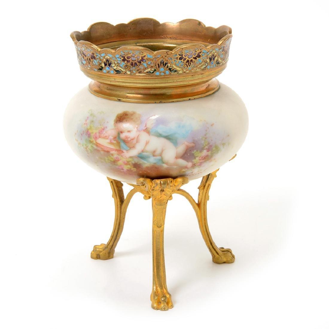 Two SÈvres Style Gilt Bronze Porcelain Vessels: - 3