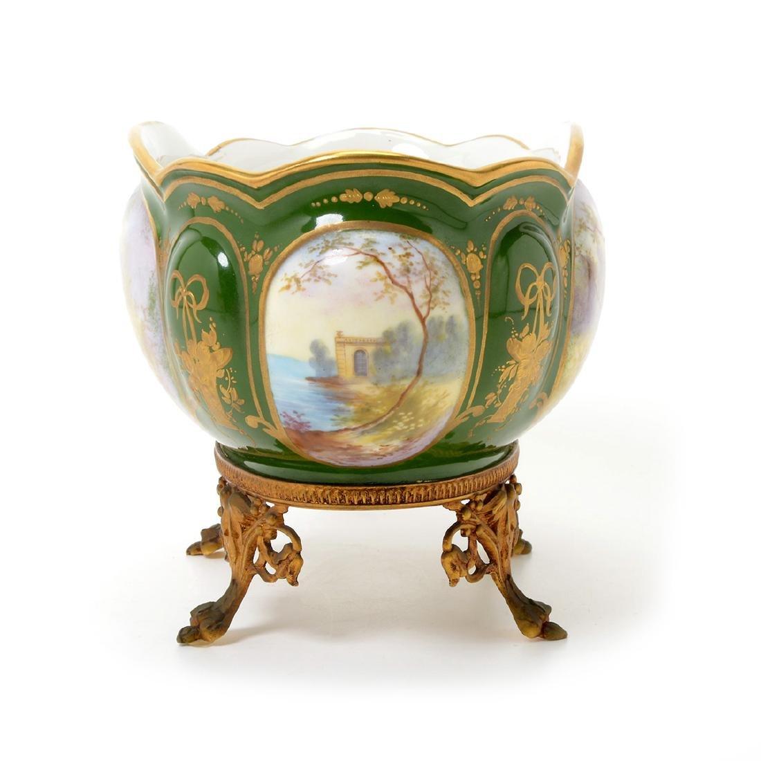Two SÈvres Style Gilt Bronze Porcelain Vessels: - 7