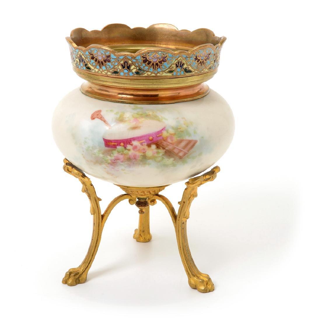 Two SÈvres Style Gilt Bronze Porcelain Vessels: - 9